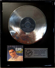 "Elvis Presley Elvis is Back CD/Cover gerahmt +12""Deko goldene Vinyl Schallplatte"
