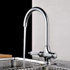 Traditional Swivel Twin Lever Kitchen Sink Mixer Taps Chrome Monobloc Basin SN9F