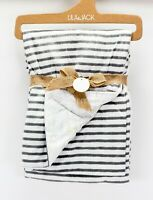 "NEW Lila & Jack Baby Blanket 30"" X 40"" 100% Polyester New Gray and white strips"