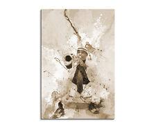 90x60cm PAUL SINUS Splash Art Gemälde Kunstbild Jazz Player Cuba Sepia