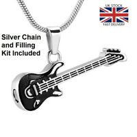 Guitar Cremation Urn Pendant Ashes Necklace Funeral Memorial Keepsake UK