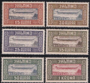 ICELAND 1931 Zeppelin Essay set Gummed MNH Modern Reproduction Stamp sv