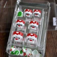 Clear False Toenails Nail Tips for Toes Cute Santa Claus White Christmas Z508