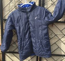 Nautica Reversible Spellout Sleeve Coat Blue Jacket Boys 32-34 Inch Chest Hooded