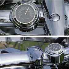 "Black 7/8""1"" Rainproof Autocycle Handlebar Mount Dial Clock & Thermometer Temp"