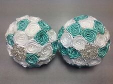 2-Custom-made Bridal Silk Rose Flower Bouquet  ,Teal and White