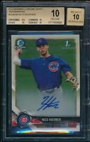 BGS 10/10 NICO HOERNER AUTO 2018 1st Bowman Draft Chrome Cubs Rookie RC PRISTINE