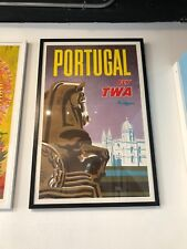 Vintage Airline Poster -  Portugal  for Trans-World Airlines TWA