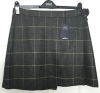 M&S Marks s16 Luxe Dark Grey Fine Yellow Check Wool Rich Mini Skirt Kilt BNWT