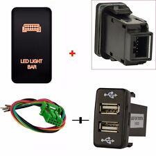 Push Switch Led light Bar + Dual 2 Port USB Charger 5V For Toyota FJ Cruiser new