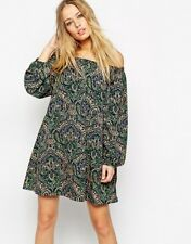 Asos Green Paisley Print Off Shoulder Swing Shift Dress Size 6 Casual