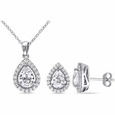 Amour Sterling Silver Created White Sapphire Set Necklace and Earrings