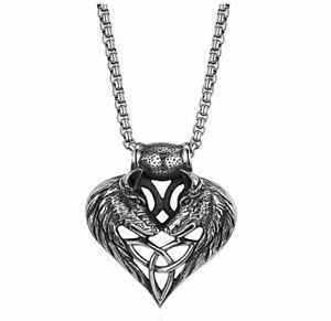 Mens Wolf Head Heart Celtic Knot Amulet Stainless Steel Pendant Necklace Chain