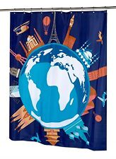 OUR WORLD EIFFEL PISA TOWER,BIG BEN...... FABRIC SHOWER CURTAIN water repellent