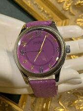 JOAN RIVERS CLASSICS 377 PURPLE LEATHER  BRAIDED WATCH ROUND FACE BATTERY EUC