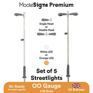 ModelSigns Premium - Set of 5 LED Platform Lights lamp for Model Railways OO HO