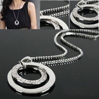 New Women's Fashion Crystal Rhinestone Silver Plated Long Chain Pendant Necklace