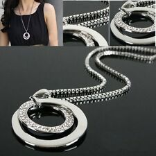 Wholesale Silver Plated Circular Crystal Rhinestone Pendant Long Chain Necklace