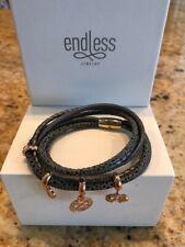 "Endless Jewelry Gray Leather Bracelet Double 7.5"" w/ Bonus New - Free Ship"