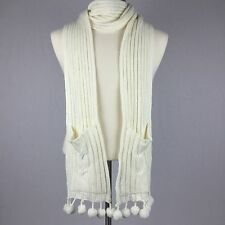Bath And Body Works Scarf 2006 Cream Off White Cable Knit Hand Warmer Pom Pom