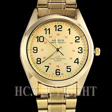 Noble 18K Gold Plated Special Quartz Analog Golden Tone Mens Wrist Watch 12/24H