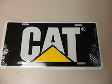 Black & White  License plate tag CAT Logo New Caterpillar tag