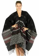 Black and Multi Colored Metallic Woven Tribal Oversize Fashion Shawl