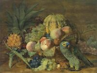PAINTING STILL LIFE WALDMULLER FRUIT WITH AMAZONIAN PARROT PRINT POSTER LF759