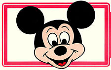 "2 Large 1970s Mickey Mouse Ears Walt Disney Cardboard Red 10"" Sticker New Nos"