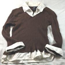 Derek Heart (DH) brown rib knit pullover blouse w/white collar and cuffs, size M