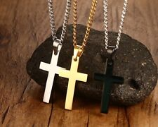 "20""-28"" Necklace Cuban Jesus Stainless Steel Gold&Silver 2.5mm Cross Pendant"