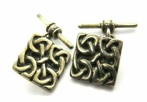 Pair Of Vintage Sterling Silver Celtic Style Cufflinks