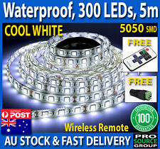 5050 Cool White 300 SMD LED Waterproof Flexible 12V DC Led Strip Light RF Remote