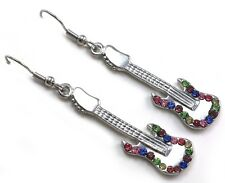 Multicolor Electric Guitar Dangle Earrings Silver Tone Music Instrument Jewelry