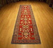 3 X 116 Hand Knotted Handmade Afghan Kazak Runner Veggie Dye Spun Wool