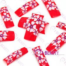 50pcs Acrylic False French Nail Art Full Tips IBN1-0015 Red Back White Flower