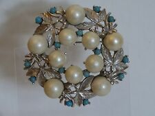 "Vintage Sarah Coventry Turquoise/Pearl Brooch Pin ""Alaskan Summer"""