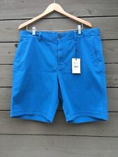 NWT Men's Robert Graham Teal Blue Flat Front Classic Fit Chino Shorts Size 38