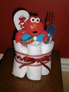 Diaper Cake Mini Elmo Rattle, Brush Set with fork & spoon