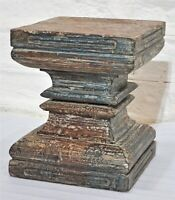 Antique Wooden Column Base Crafted Side Table Stool Old Hand Carved