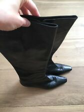 Jimmy Choo Black Leather Knee High Boots Low Heel Zip Up EU 40 UK 6.5 7 US 9 9.5