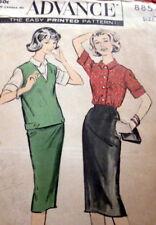 LOVELY VTG 1950s JERKIN BLOUSE & SKIRT ADVANCE Sewing Pattern 14/34