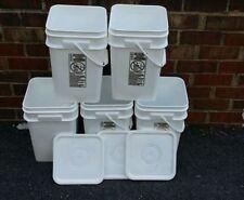 5 Plastic 4 1/4 Gal-Square food grade buckets-HDPE 2-Ropak-reuse-lids free SH