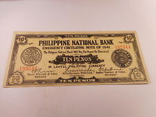 Philippines Emergency Currency PNB Cterstamped Del Sur 10 Pesos - # 195544