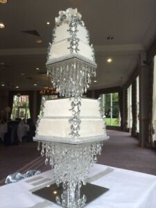 SQUARE Cake Stand | Chandelier Cake Stand | Crystal Cake stand For Wedding