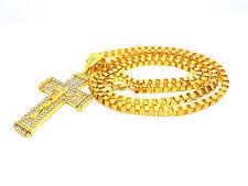 Scatola dorata Catena Collana Hip Hop micro-spianato Chiaro Cristallo Gesù Croce pendente a