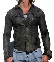 Men's Gents Black Adjustable Collar Casual Shirt Soft Leather Shirt Jacket LS009