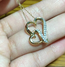 10k Gold Natural Diamond Double Heart Journey Love Pendant Necklace