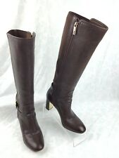6478559e3a98f Tory Burch Brown Leather Gold Buckle High Heel Knee High Boots Women s Size  ...