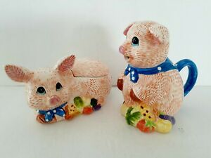 Little Pigs Ceramic CREAMER & SUGAR  BOWL Collectable Colorful
